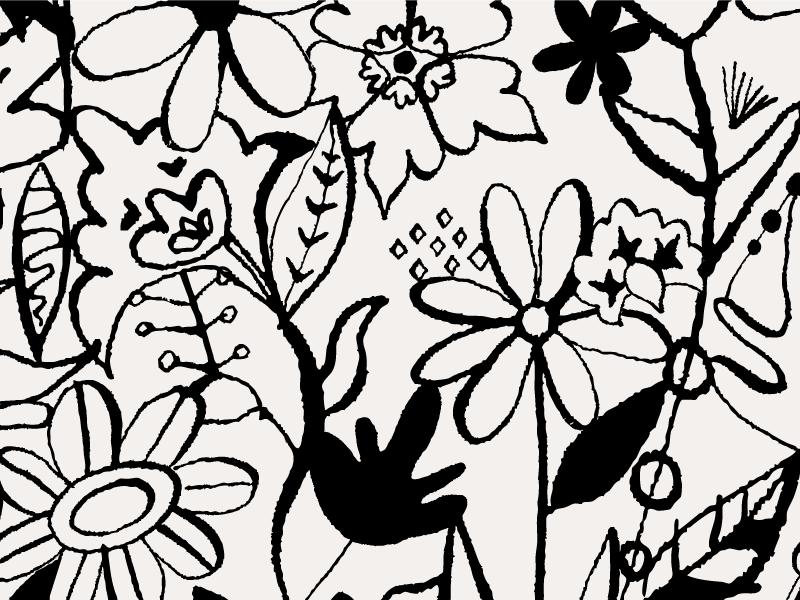 Inked Floral Pattern pattern flowers surface design illustration pen ink spring floral modern textile