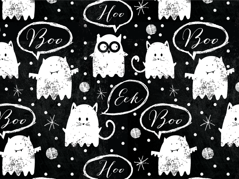 Chalkboard Ghost Friends halloween ghosts chalkboard cat owl bat pattern repeat surface design illustration design surtex