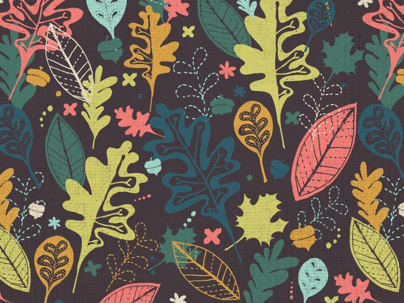 Autumn Leaves Pattern leaves fall autumn pattern surface design illustration fabric spoonflower handdrawn leaf surtex pattern design