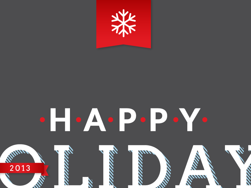 Corporate Holiday Card holiday snowflake winter corporate typography design ribbon flag banner dots red