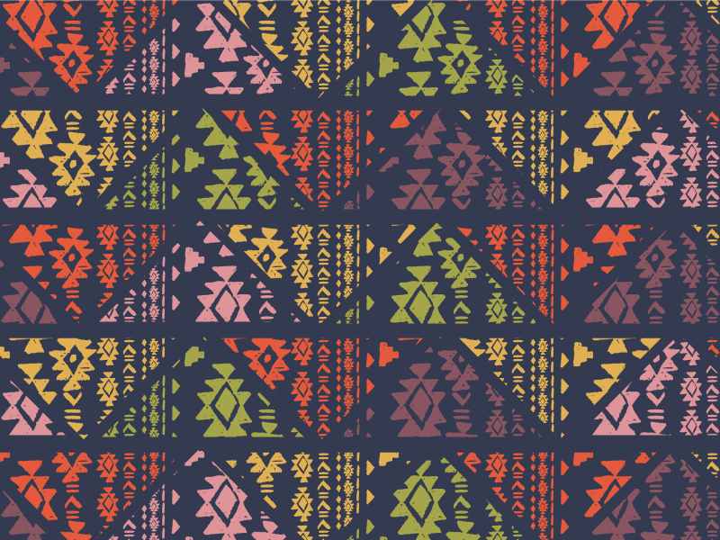 Navajo-Inspired Mountain Triangles surtex surface design pattern illustration tribal navajo mountains color