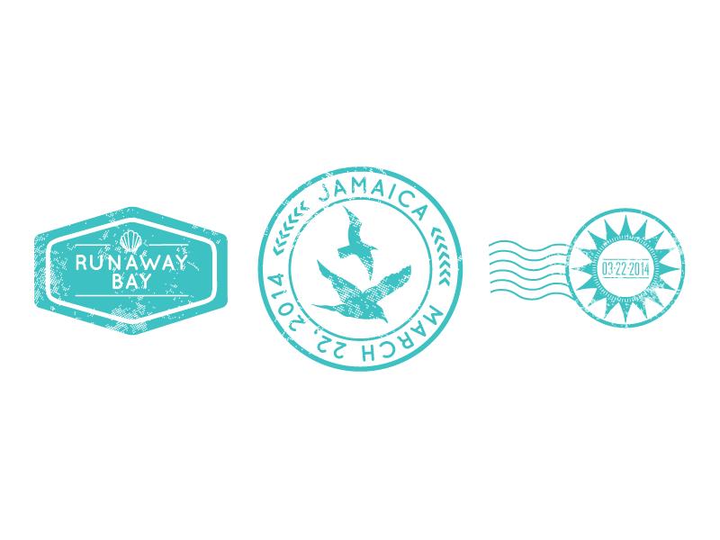 Passport Wedding Invitation Suite - Stamps passport design birds shell tropical typography sun stamp stamps badge seal