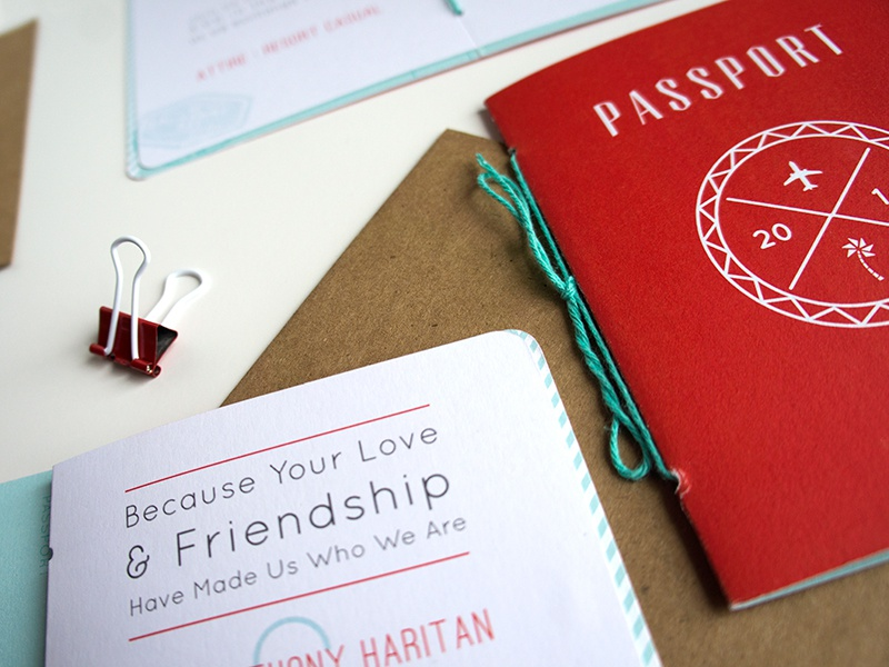 John + Chelsea's Punchy Passport Invitations invitations wedding passport design tropical typography sun stamp badge seal