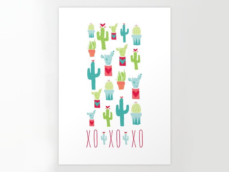 Happy Valentine's Day Cacti cactus valentine hearts succulents illustration pattern surface design surtex