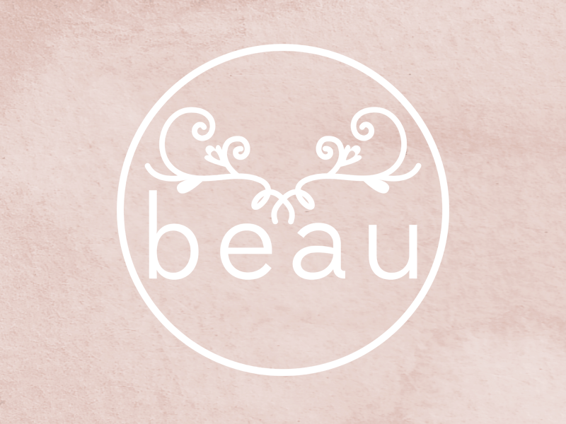 Beau Logo antlers feminine wedding typography circle stamp sans serif modern rustic boutique store watercolor