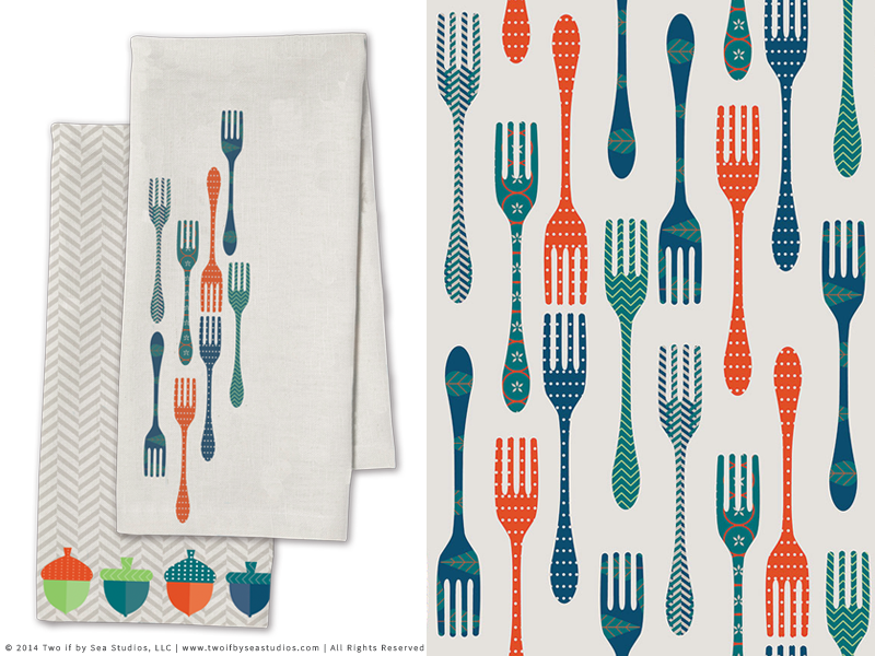 Owl Creek Kitchen Towel + Forks Pattern forks kitchen pattern design acorns textiles towel geometric surface design surtex surface tea towel
