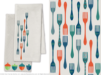 Owl Creek Kitchen Towel + Forks Pattern