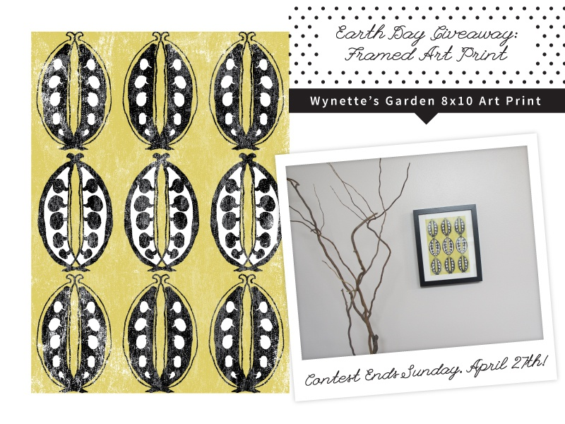 Earth Day Giveaway: Framed Art Print pattern print yellow vegetables garden earth day art decor home framed