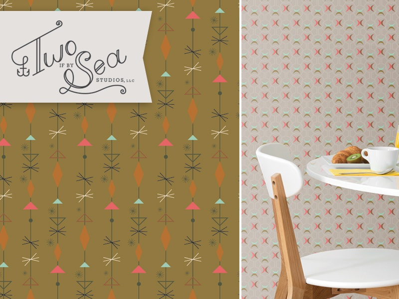 Mid-century Wallpaper Dreams coverings home wallpaper pattern surface design atomic midcentury geometric olive wall decor interiors