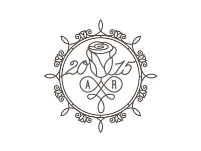 Wedding Invitation Rose Monogram