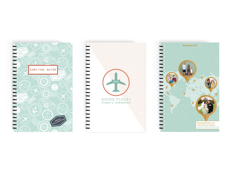 Travel Notebook Designs for Minted travel passport notebook product design pattern wanderlust stamps icons badge map cover