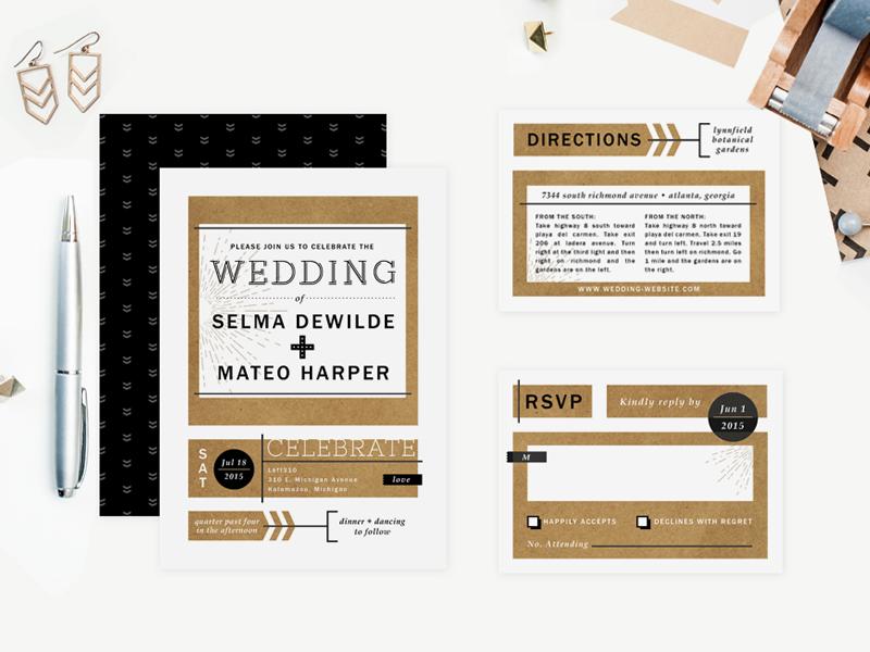 Urban Arrows Wedding Invitations wedding invitation suite typography modern graphic arrows pattern blocks