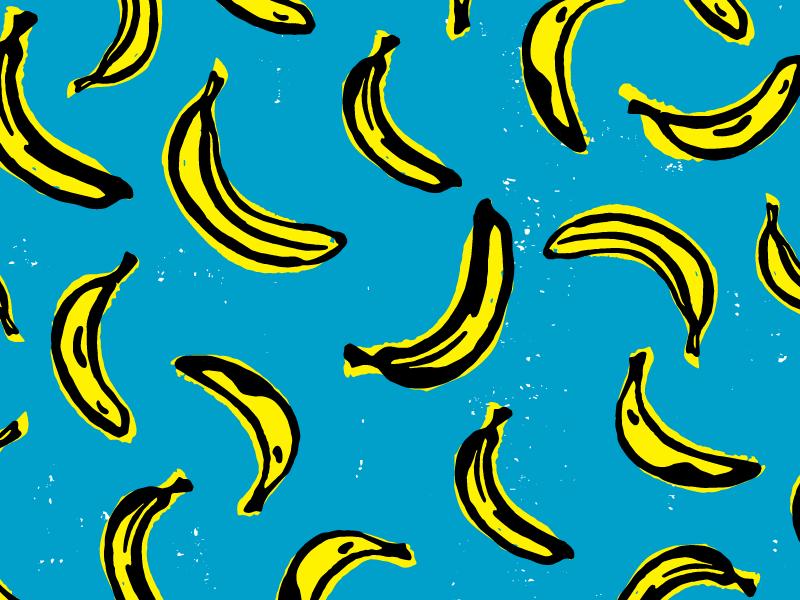 Banana Scatter Pattern banana tropical beach pattern fruit ink marker brush illustration surface surtex design