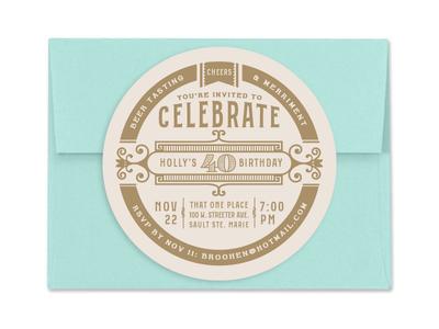 40th Birthday Invitation Coasters