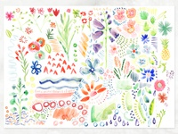 Botanical Watercolor Elements