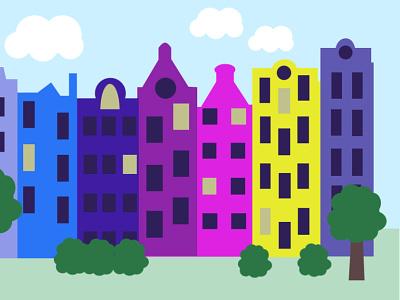 Houses kids illustration kids book textile print illustration vector holland houses