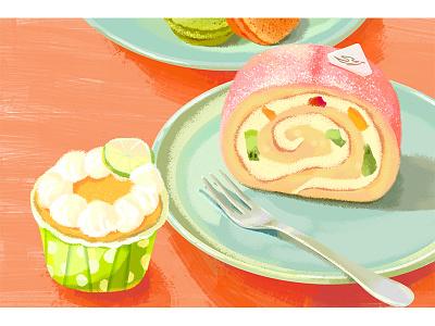cake roll sweet cakes food illustration draw