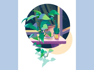 The corner of the night window greens foliage illustration draw