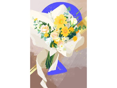 A bouquet of flowers foliage greens bouquet flowers illustration draw