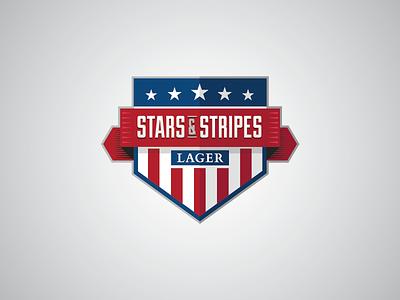 Stars & Stripes identity branding design illustrator lager country flag badge logo america usa