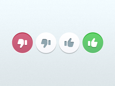Action Buttons ui mobile hit state thumbs down thumbs up like flat button action