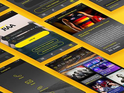 myRAA App Screens user experience ux ui wireframe process design photoshop raa