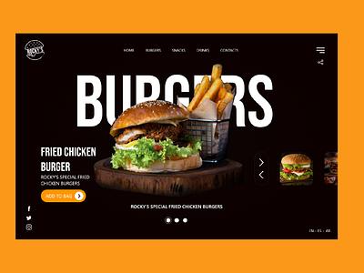 Rocky s Burger ui ux design burger design burger menu burger ui branding restaurant burger design app designer ux ui  ux uidesign web ux design adobe xd ui design ui art design 2021