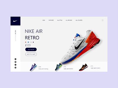 NIKE SHOES DESIGN event shoes shop retro nike design nike shoes nike air ecommerce ecommerce design web ux design adobe xd ux ui design art ui design 2021
