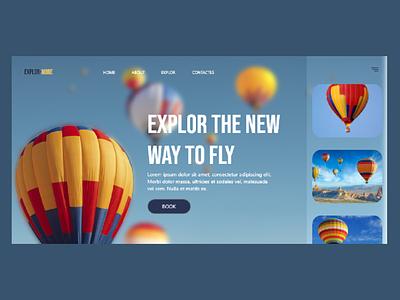 Air balloon promotion web UI design fun love love free blue sky sky ecommerce design blue blue and white air balloon air travel the world ux design adobe xd ux ui design ui art design 2021