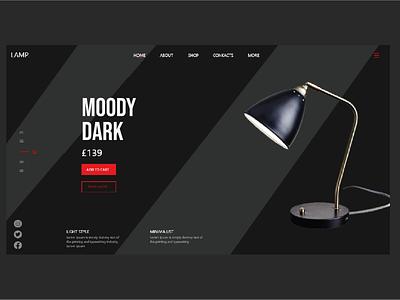 Lamp web header UI red black ecommerce design ecommerce technology ui technology lamp typography vector ux design illustration designs ui art design 2021