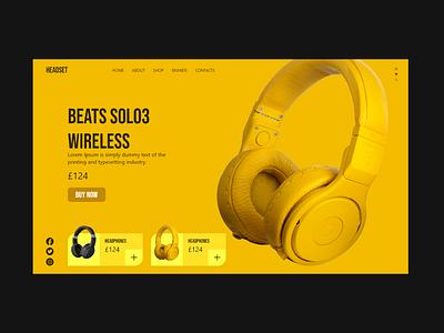 Beats web UI Design ecommerce headphone blue branding beats logo beats solo how it works yellow web ui beast typography art ux ux design adobe xd ui design illustration design 2021