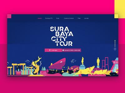 Surabaya City Tour Landing Page history flat character animation tour guide landscape asian landmark travel tour bus landingpage illustrator city