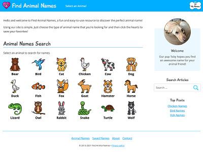 Find Animal Names animals website homepage dog