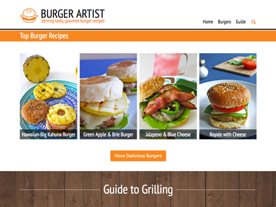 Burger Artist homepage burgers web design website burger homepage