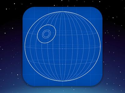 Death Star Plans Icon - DailyUI #005 blueprints app icon app icon death star star wars dailyui