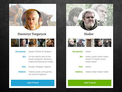 Game of Thrones Profiles DailyUI #006 dailyui social hodor game of thrones profiles profile