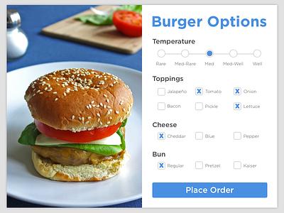 Burger Settings - DailyUI #007 card options settings cheeseburger burger dailyui
