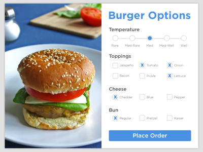 Burger Settings - DailyUI #007 card options settings cheeseburger burger dailyui