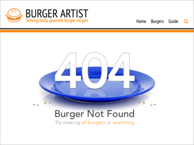 404 Error Burger Not Found - DailyUI #008 burger 404 page 404 error dailyui