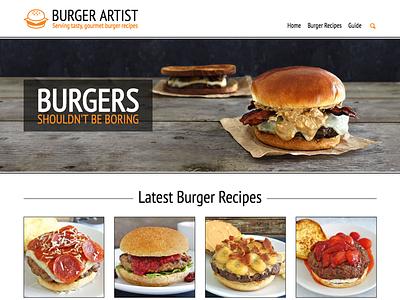 Burger Artist Homepage Redesign blog recipe cheeseburger home page homepage burger