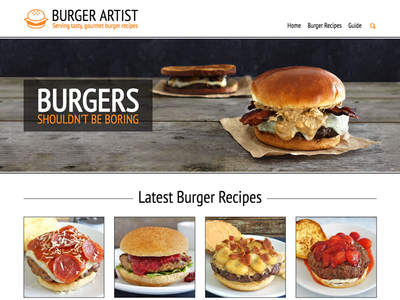 Burger Artist Homepage Redesign blog recipe cheeseburger home page homepage burger