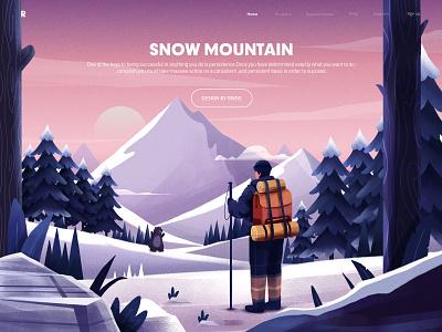 Snow Mountain web design illustration ps