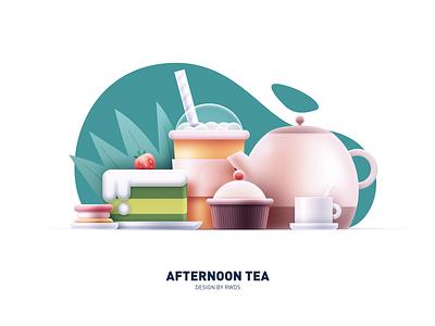 Afternoon tea illustration tea food