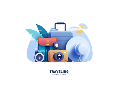 Travel ticket hat bag camera illustration ps