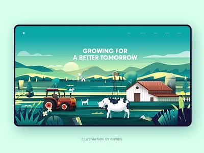 FARM cow design web illustration farm