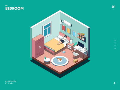 Bedroom design vector isometric illustration ps