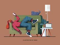 Sofa branding vector design phone illustration ps