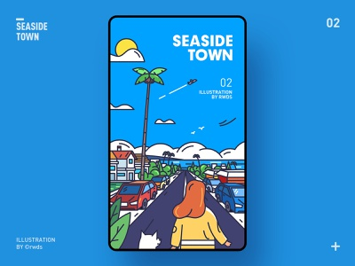 Seaside town illustration ps