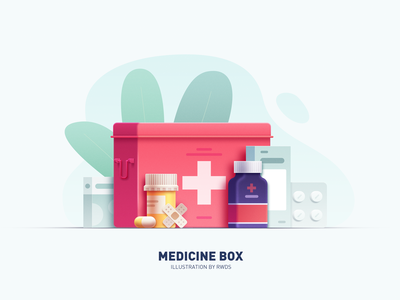 Medicine box vector branding illustration ps