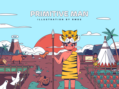 Primitive man vector illustration ps